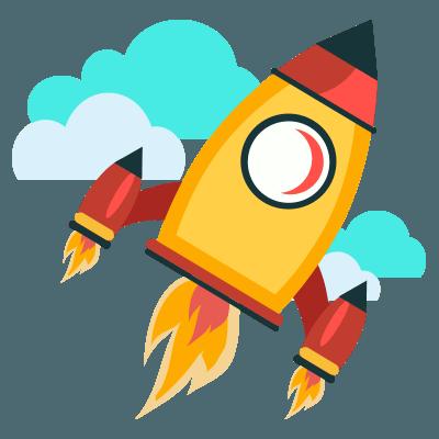 Rocket shooting through clouds